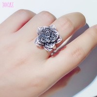 S990 sterling silver jewelry matte Thai silver craft rose fashion ring 2019 adjustable woman's silver ring