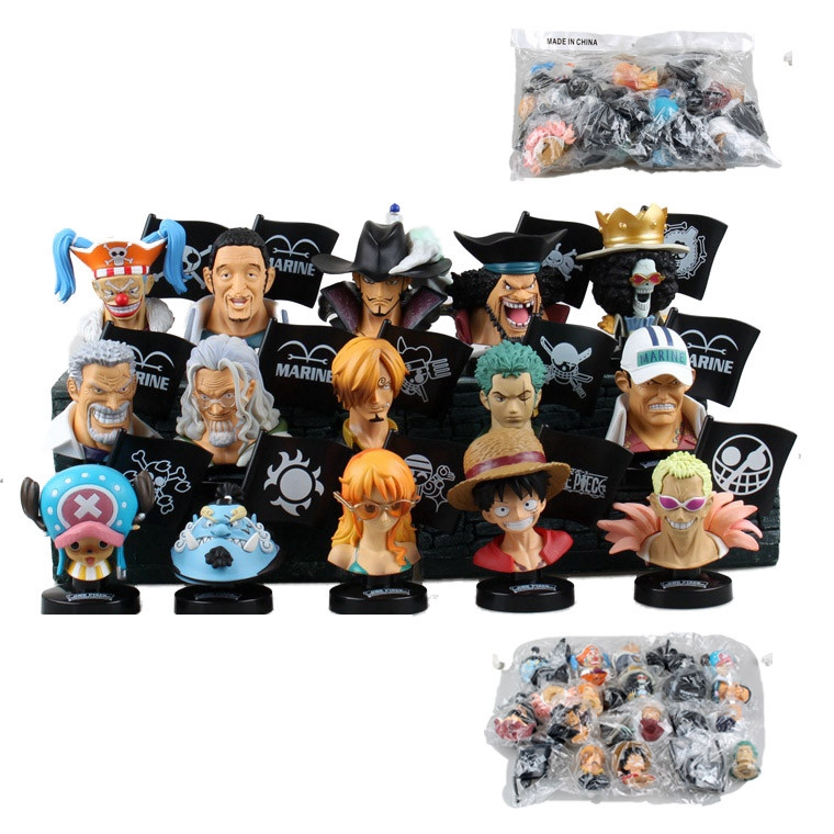 Anime one piece 15pcs/set figure Bust Luffy Chopper Zoro Silvers Rayleigh Head Portrait pvc action figure model toys juguetes patrulla canina with shield brinquedos 6pcs set 6cm patrulha canina patrol puppy dog pvc action figures juguetes kids hot toys