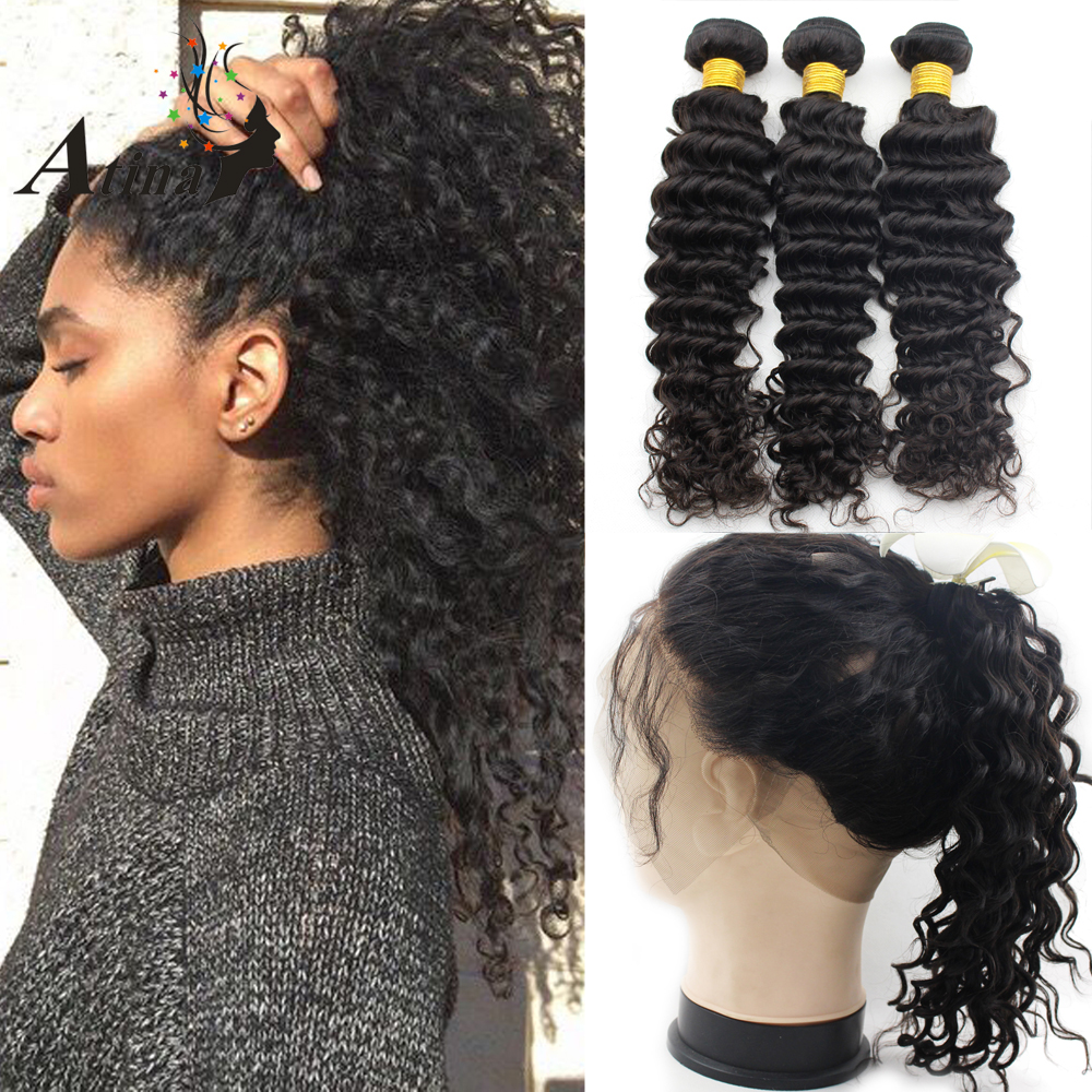 Pre Plucked 360 Lace Frontal with Bundle Human Hair with Baby Hair Virgin Deep Wave Brazilian