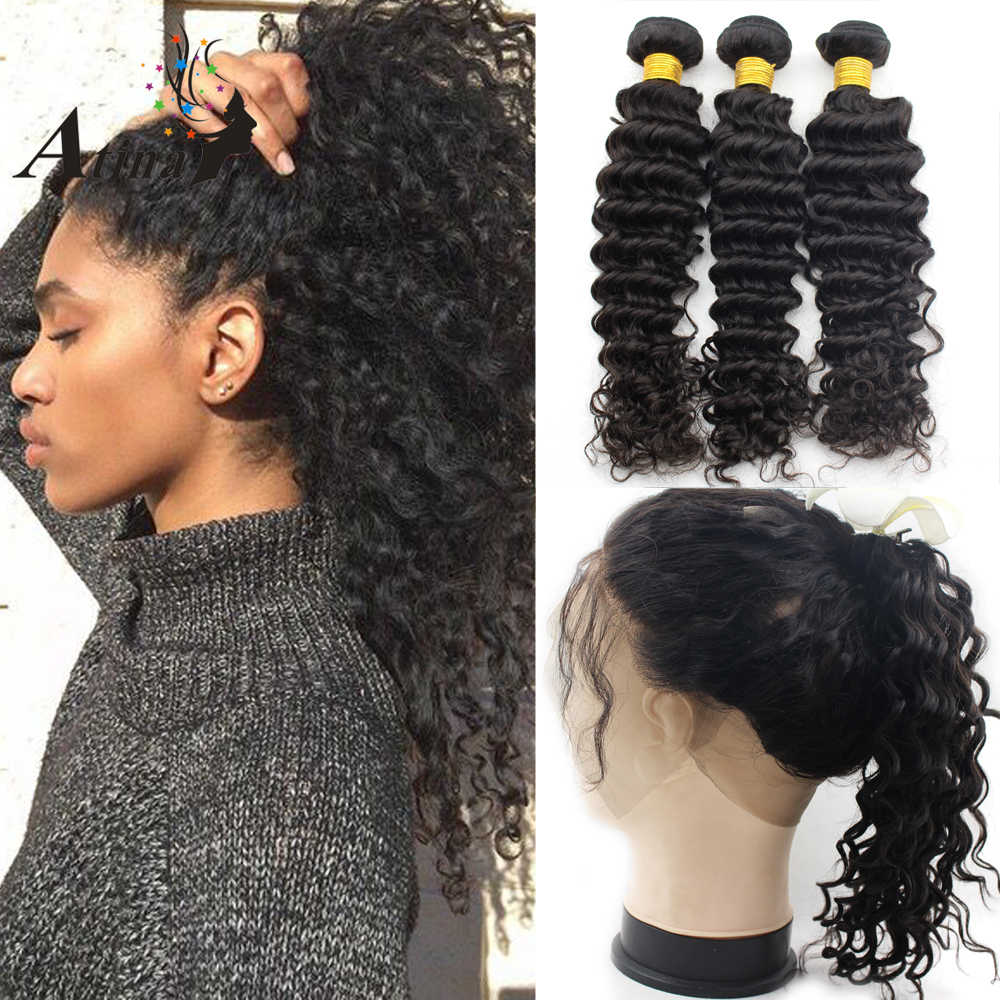 Pre Plucked 360 Lace Frontal with Bundle Human Hair with Baby Hair Virgin Deep Wave Brazilian Hair Bundles with Closure Atina