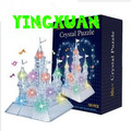 HAPPYXUAN DIY 3D Jigsaw Crystal Puzzle Flash Music Gold Castle Plastic Home Decoration Birthday  For Children