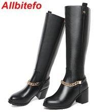 ALLBITEFOขนาด: 33-43หนังแท้รอบนิ้วเท้าหนาส้นแพลตฟอร์มผู้หญิงบู๊ทส์แฟชั่นโซ่รองเท้าส้นสูงในช่วงฤดูหนาวหิมะรองเท้ายาว