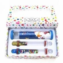 Flor Flam Fluid Fantasy Glitter Wand Cross Shape Kaleidoscope for Kids Each Gift Box with 2 Space Tubes Children Best