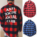 Antisocial Club Social ULZZANG Camisa de Color azul A Cuadros Rojo Kanye ASSC Unisex Camisetas 2 color