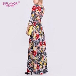 Image 2 - S. FLAVOR mujeres elegante vestido estampado Floral moda cuello redondo manga tres cuartos Vestidos largos otoño elegante Vestidos de fiesta