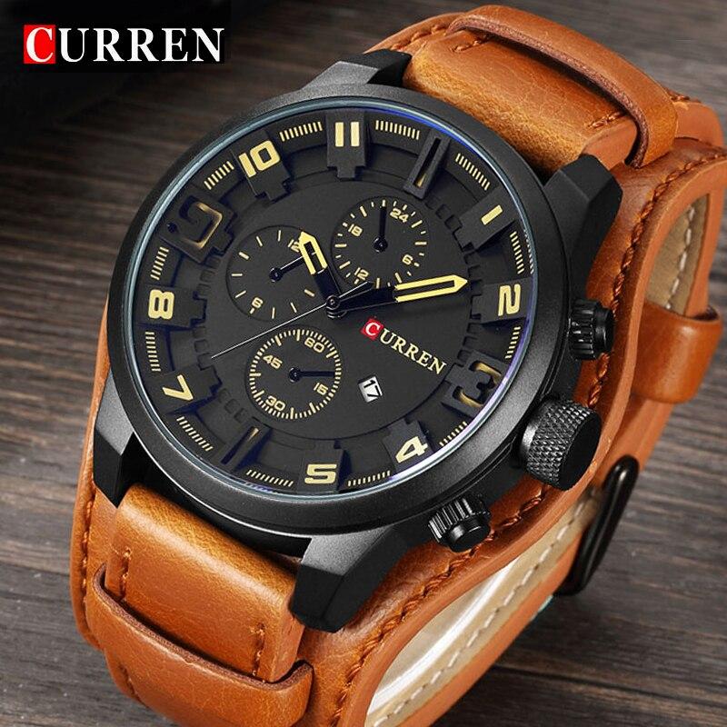 Curren Mens Watches Top Brand Luxury Leather Quartz Watch