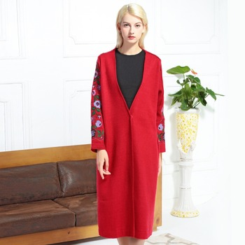 Winter Embroidered Coat Women 2018 New V-Neck Single Covered Button Long Sleeved Loose Casual X-Long Coats Female M-XL