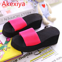 2015 Summer Sandals Solid Muffin With Slippers Fashion Women Sandal With Thick Soles Slope Flip Flops
