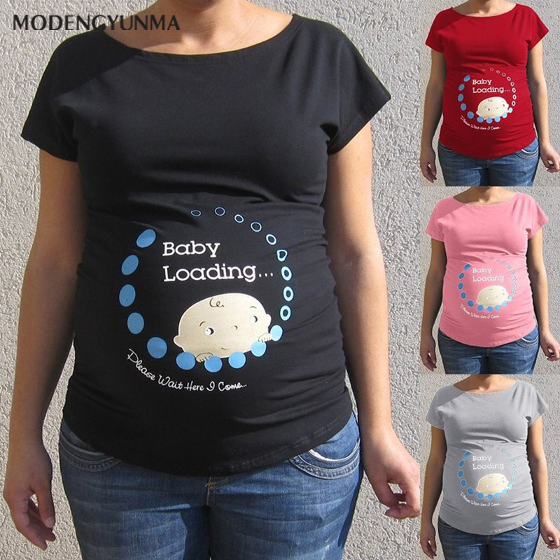 Maternity T-shirt Baby Loading Summer Pregnancy Tops Women Pregnant Baby Printed Plus Size Funny T-Shirt Maternity Lady Tops