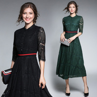 Autumn Winter Women Lace Stitching Long Dress Elegant Slim Casual For Ladies Temperament Party Dresses Solid