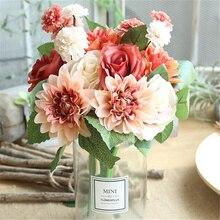 10 head / 1PCS artificial dahlia rose autumn vivid false leaf hibiscus wedding bridal tiara bouquet
