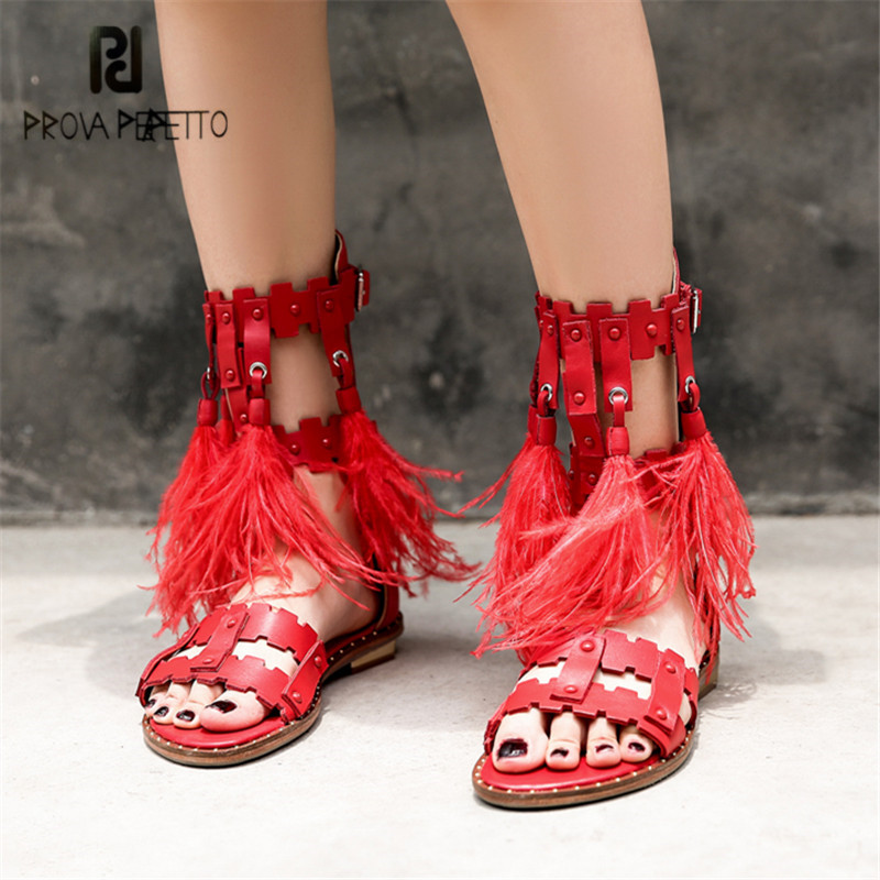 Prova Perfetto Red Feather Decor Women Sandals Gladiator Fringed Shoes Woman Summer Boots Rivets Studded Flat Sandal Beach Flats prova perfetto yellow women mid calf boots fashion rivets studded riding boots lace up flat shoes woman platform botas militares