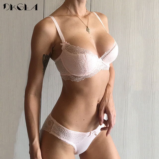 Fashion Young Girl Bra Set Plus Size D E Cup Thin Cotton Underwear Set  Women Sexy Brassiere Pink Lace Bras Push Up Embroidery 5608f3a02