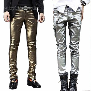 Men's sexy clothing gold leather dance pants Men leather pants tight trousers harem pants