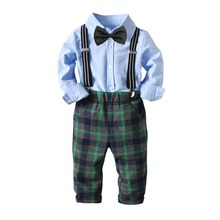 Boys suit casual cotton solid plaid shirt +plaid pants strap + bow tie boy formal suit children clothes boys suit for wedding недорого