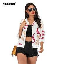 купить NEEDBO Jacket Woman New Arrival Spring Autumn Jackets Print Leopard Female Coat Casual Slim Stand Collar Bomber Biker Jackets дешево