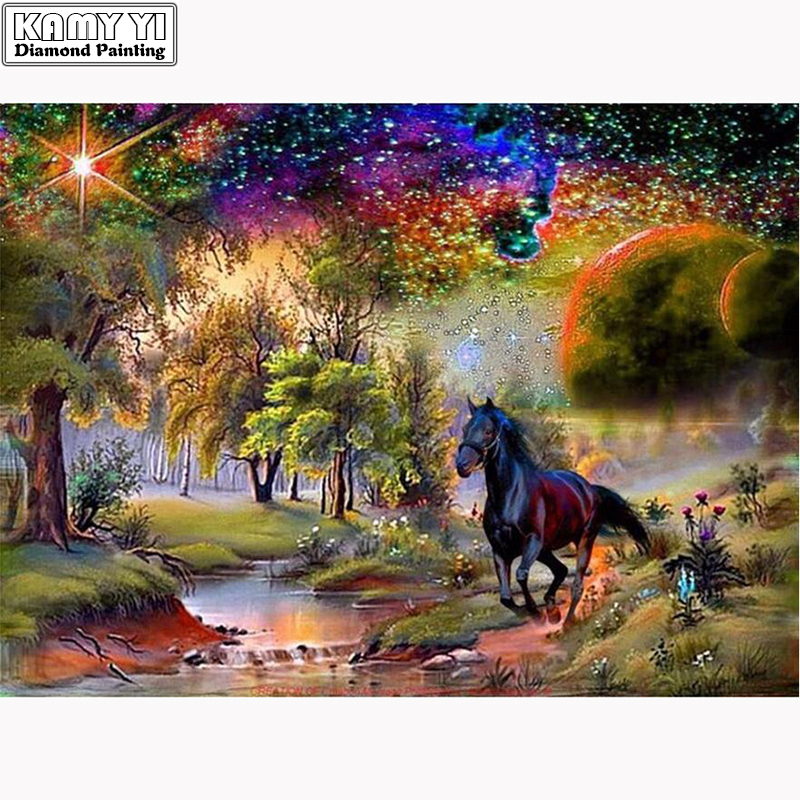 New 5D DIY Diamond Painting Black Horse Embroidery Full Square Diamond Cross Stitch Landscape Rhinestone Mosaic Painting Decor