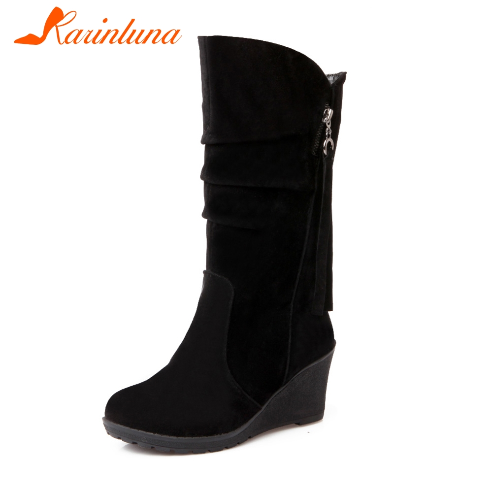 KARINLUNA New Solid Fringe Wedges High Heels Hot Sale Slip on Shoes Woman Casual Winter Mid-Calf Boots Black Large Size 28-52
