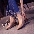 Gamiss mujeres del otoño del resorte talón grueso bombas de cuero de gamuza suave Mujeres Superficial Zapatos de Trabajo zapatos de Tacón Cuadrado de zapatos Ocasionales Diarios zapatos