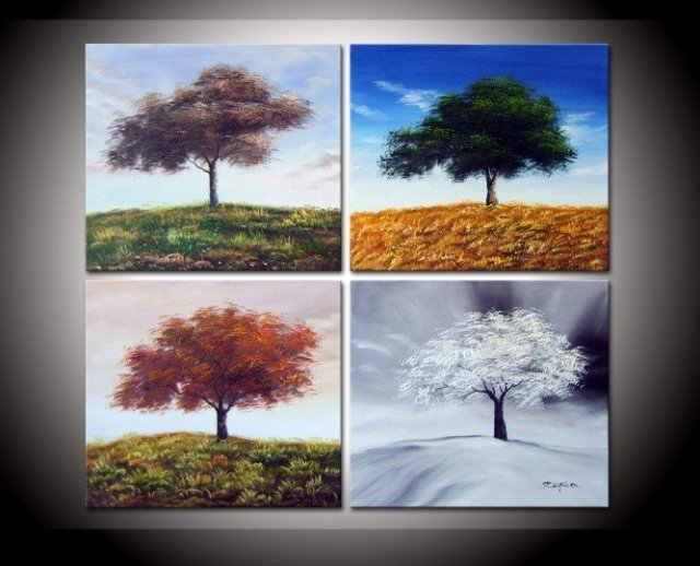Wall Decoration Tree Painting: Hand Painted Four Seasons Top Tree Oil Wall Art Decoration