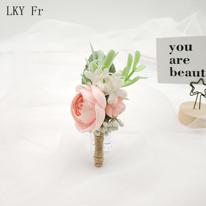 LKY Fr Boutonniere Wedding Corsages And Boutonnieres Groom Boutonniere Buttonhole Man Wedding Marriage Corsage Bracelet Flowers