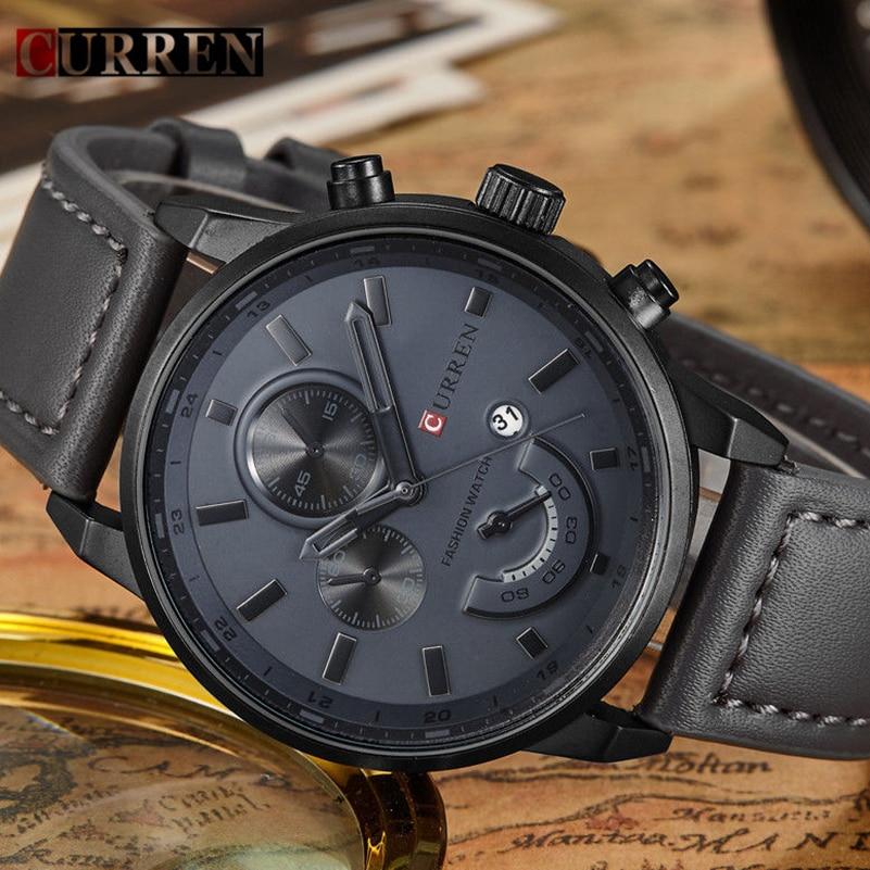 Curren Uhren Männer Marke Luxus Leder Uhrenherrenmode Casual Sport Uhr Männer Datum Armbanduhr Relogio Masculino 8217