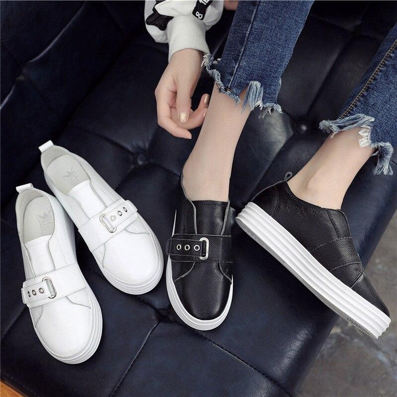 37b1db92f7 2018 otoño nueva moda simple color sólido plataforma casual zapatos mujer  suave y cómodo cuero Lok Fu zapatos planos.