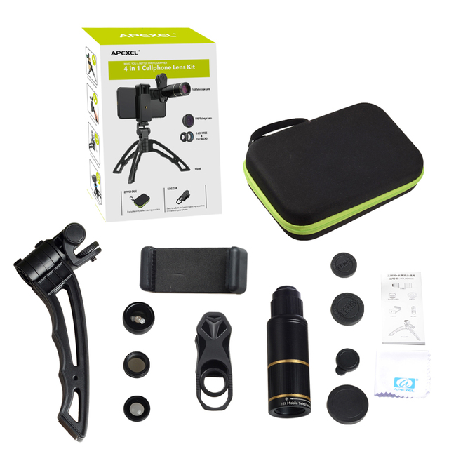 APEXEL Phone Camera Lens Kit universal Metal 16x Telescope telephoto lens+selfie tripod+ 3 in 1 lens for Samsung and otherphones 5