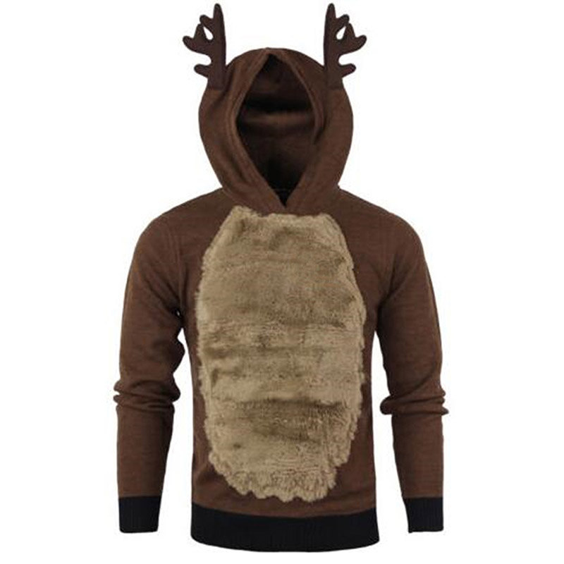 Antlers Pattern Fur Color Matching Sweatshirt Autumn And Winter Men's Pullovers Christmas Antlers Pullover Hoodie