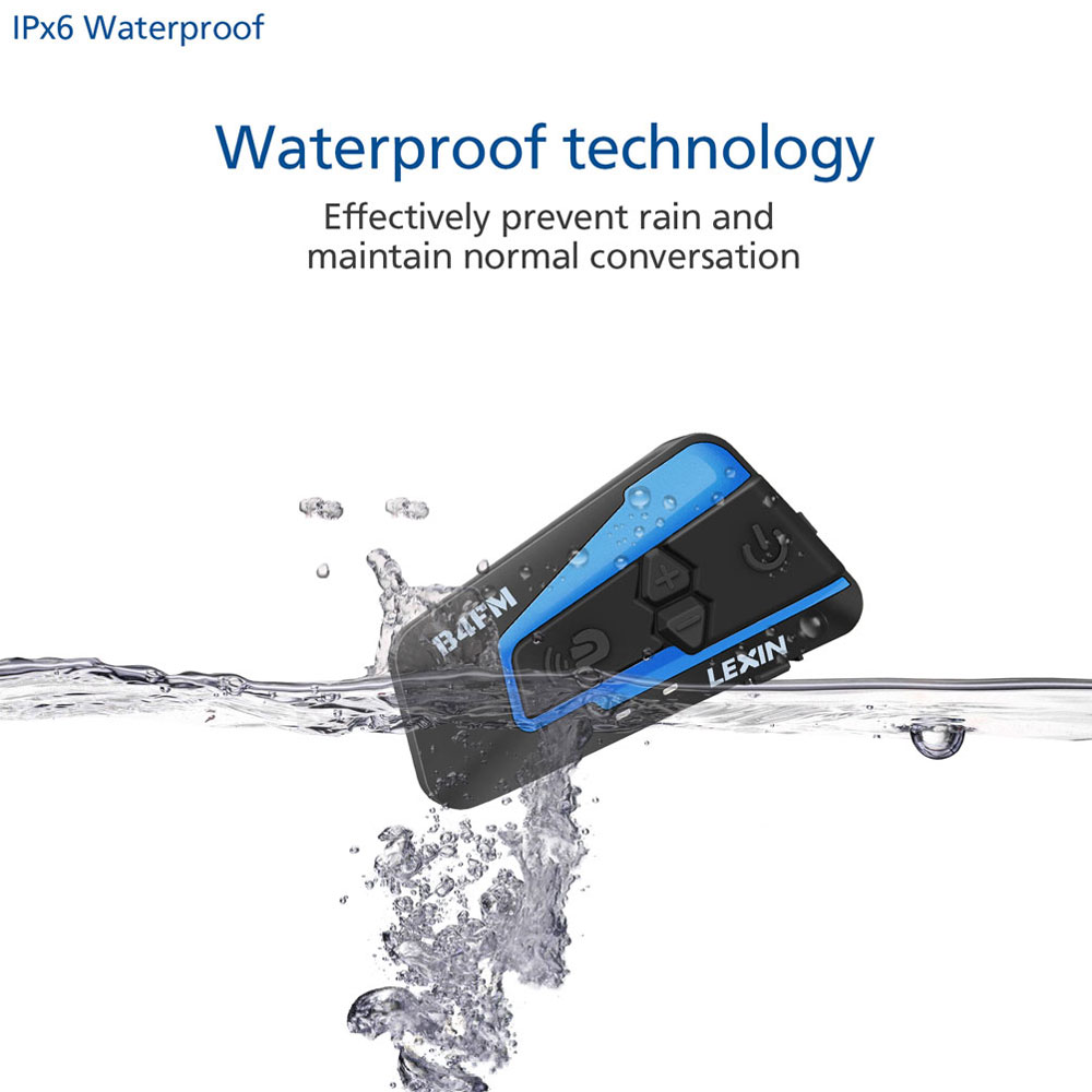 Lexin 1PCS 1500M 4 Maneiras Multi-função de Intercomunicador Do Bluetooth Motocicleta Capacete a conversa de Grupo À Prova D' Água Fone de Ouvido com FM função