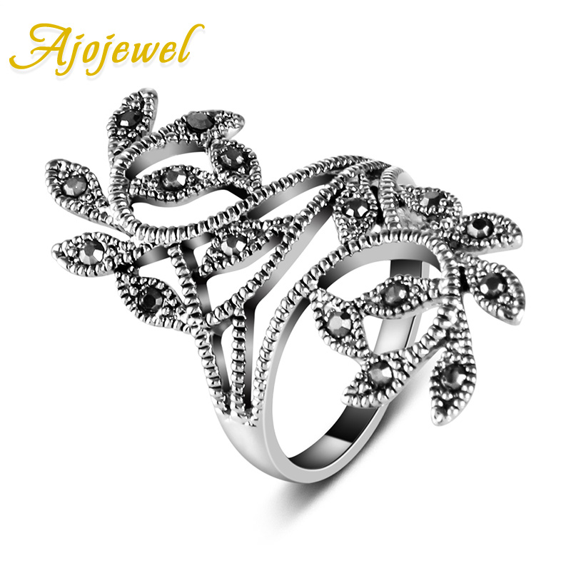 Ajojewel Brand Size 6-9 Hot Sale Zink Alloy Sort CZ Retro Vintage Leaf Ring For Kvinder