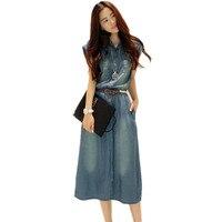 Plus Size 4XL Women Maxi Vintage Denim Dress Summer 2017 Jurk Long Shirt Dress Vestidos Mujer