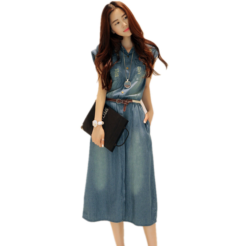 ef13a9f6cc ... Plus Size 4XL Women Maxi Vintage Denim Dress Summer 2017 Jurk Long