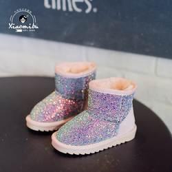 Зимние сапоги детская обувь ботильоны плюшевые теплые зимние сапоги унисекс Coloful резиновая мягкая удобная модная детская одежда Сапоги