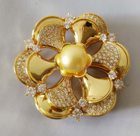 one pcs freshwater pearl coin 10 11mm flower brooch zircon yellow plated DIY pendant DIY Jewelry wholesale FPPJ
