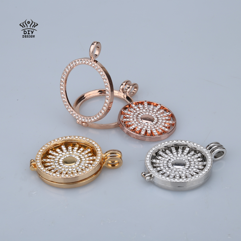 New 33mm my coins pendant necklace set disc fashion women fit 35mm coin holder rhinestone crystal with 80cm chain christmas gift