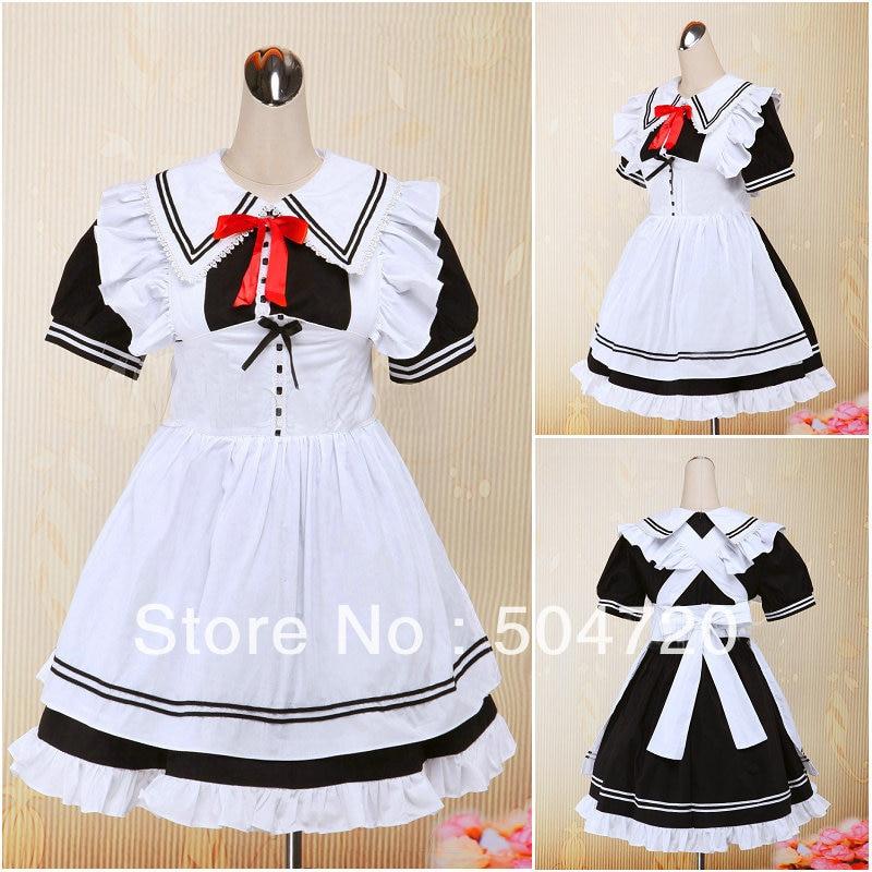 Gothique Robe Et And Blanc manches Costume Court Black Robe White robe Lolita Noir halloween Victorienne OqIYdq