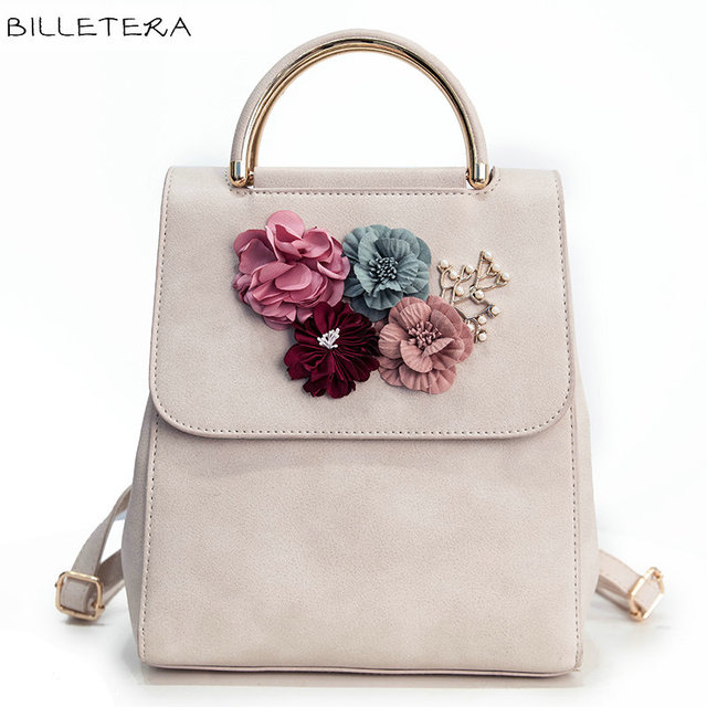 BILLETERA Fashion Women Backpack Floral Women Shoulder Bag Schoolbag for Girls