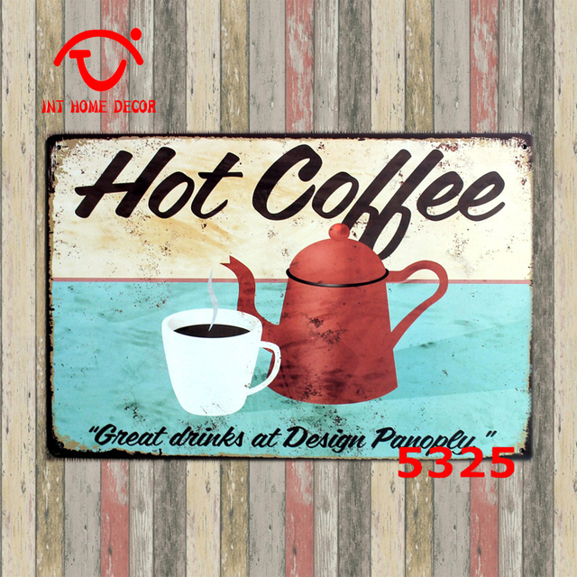 Hot Coffee Metal Wall Hanging Decor Shabby Chic Art Kitchen