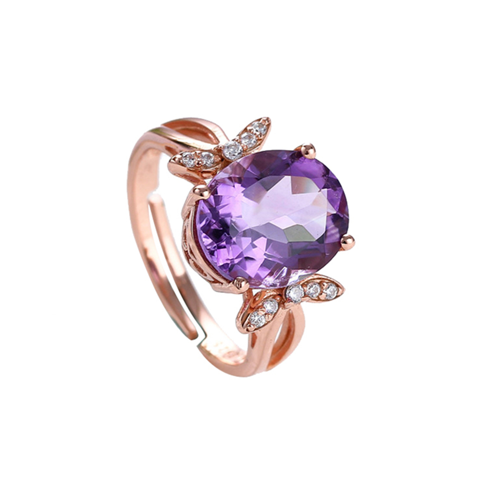 gem fine jewelry factory wholesale 925 sterling silver10x12mm oval natural purple crystal amethyst  ring for female