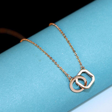 Sale Exquisite Double Circles Necklace for Women Color Gold Bicyclic splicing necklace Rose color retention Clavicle chain