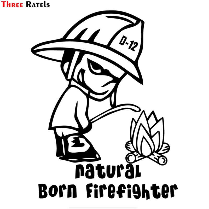 Three Ratels TZ-1422 19.3x15cm Natural Born Firefighter Car Stickers Funny Auto Sticker Decals