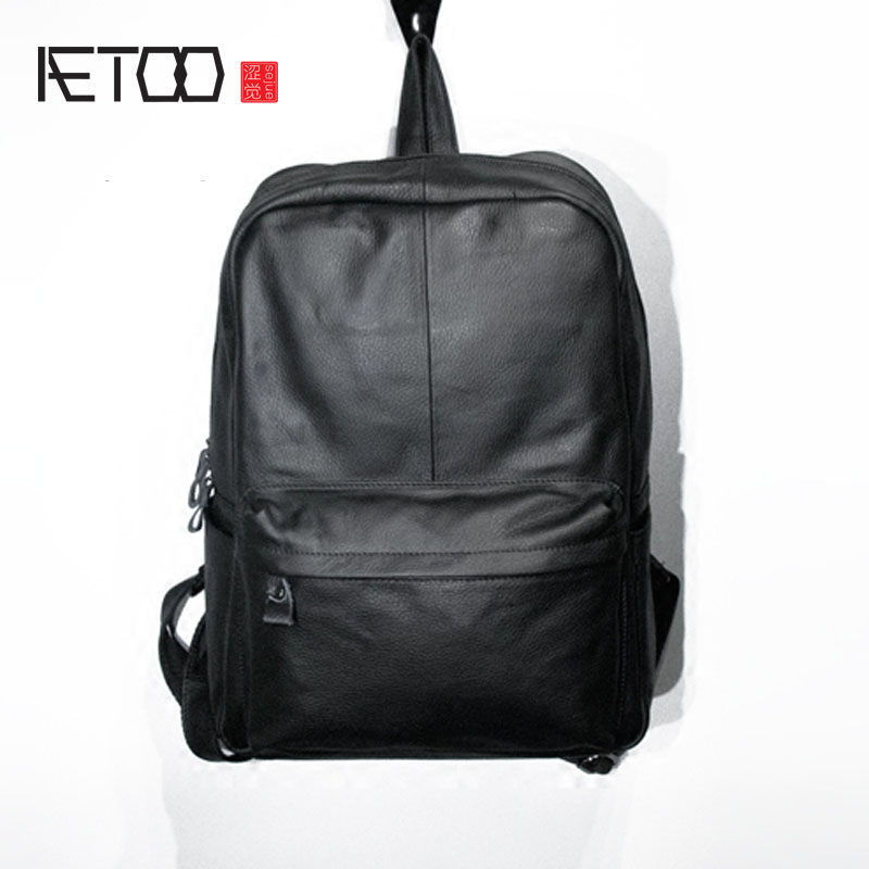 AETOO Leather men ladies large capacity travel imported first layer of leather big shoulder bag backpack aetoo retro shoulder bag genuine handmade men women casual travel backpack large capacity first layer leather