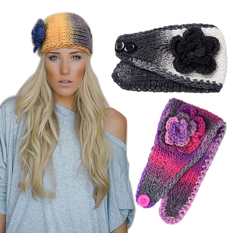 Girl Floral Knitted Fabric Turban Headband Winter Warm Hair Accessories for Women Crochet Head Wrap Female Stretch Wool Headwear halloween party zombie skull skeleton hand bone claw hairpin punk hair clip for women girl hair accessories headwear 1 pcs