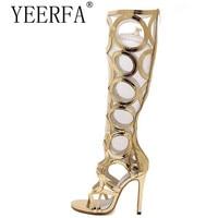 Vogue Gladiator Gold Sandals Knee High Cool Boots Women Cut Outs 11cm High Heel Sandals Woman