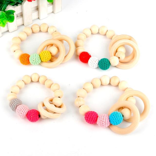 New 1pc Baby Nursing Bracelets Wooden Teether Crochet Chew Beads Teething Wood Rattles Toys Bib