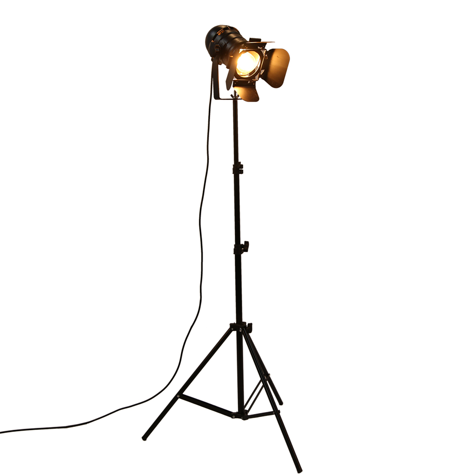 Industrial Bar Creative Studio Retro Stativ Black Floor Lampe Lygter - Indendørs belysning