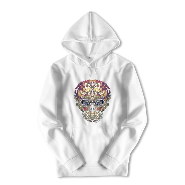 Harajuku Streetwear Hoody Sweatshirt Longsleeve White Skull Print Hooded Oversized Hoodies Boys Anime Black Coat for Men ZZW37 1