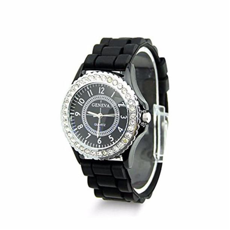 2016 New Geneva Black and White Faux Rhinestones Chronograph Silicone Watch Women Watch Dress Watches Gift Relogio Feminino alfani women s faux wrap jersey dress 3x new burgundy