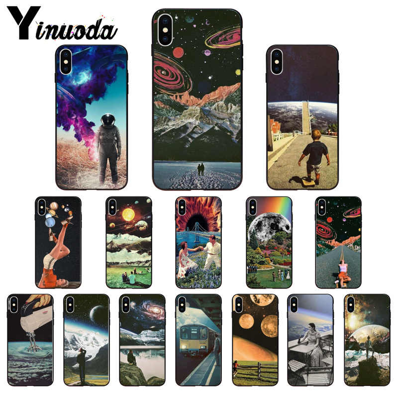 Yinuoda Trippy Art aesthetic Space astronaut DIY Printing Phone Case cover Shell for iPhone 8 7 6 6S Plus 5 5S SE XR X XS MAX